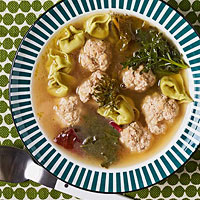 Veal Dumplings in Broth with Spring Greens
