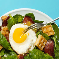 Bacon, Egg & Spinach Salad with Waffle Croutons