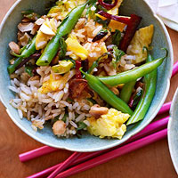Fried Rice with Chorizo, Green Beans & Cashews