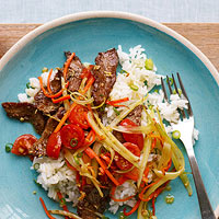 Flank Steak & Fennel with Scallion Pilaf
