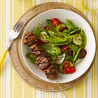 Greek Salad with Beef Kebabs