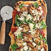 Spice-Grilled Eggplant, Feta & Spinach Pizzas