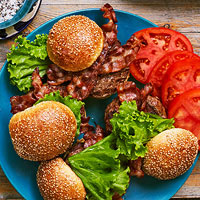 Grilled Brie-Stuffed Burgers with Bacon