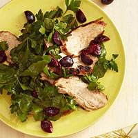 Grilled Chicken with parsley & Cherry Salad