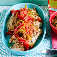 Grilled Snapper & Sweet-Sour Peppers