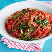 Farro Spaghetti with Buttery Tomato Sauce & Farm Spinach 30-Minute Meal