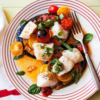 Cod with Eggplant, Tomatoes & Basil