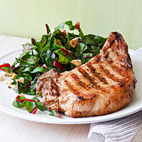 Grilled Pork Chops with Swiss Chard Salad
