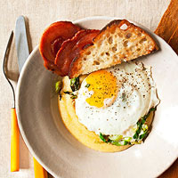 Eggs with Polenta & Pancetta