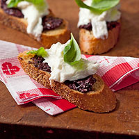 Olive & Burrata Crostini