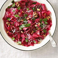 Beet Tagliatelle with Walnuts