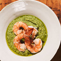 Chickpea Puree with Poached Shrimp