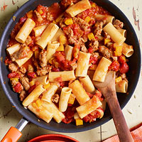 For Saffron Lovers: Rigatoni with Sausage, Pumpkin & Tomato Sauce