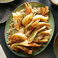 Braised Fennel with Lentil-Quinoa Pilaf