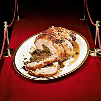 Herb and Olive-Stuffed Leg of Lamb