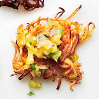 Sweet Potato-Coconut Latkes with Pineapple Relish