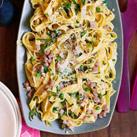 Egg Tagliatelle with Ham and Peas