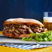 Sliced Steak and Mushroom Sandwiches