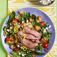 Warm Greek Salad with Sliced Steak