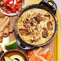 Garlic and Mushroom Queso Fundido