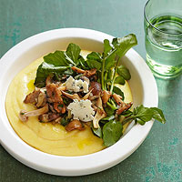 Blue Cheese Polenta with Watercress and Mushrooms