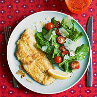 Lemon-Parm Sole with Arugula Salad