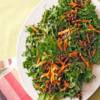 Kale and Carrot Salad with Candied Walnuts