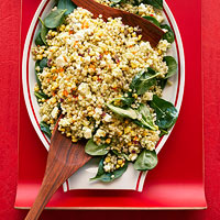 Corn, Feta and Couscous Salad with Basil Vinaigrette