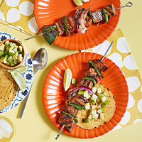 Beef Kebabs with Avocado-Tomatillo Relish