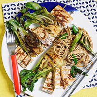 Ginger-Lime Tofu Kebabs with Bok Choy and Soba Salad
