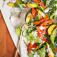 Grilled Curry Zucchini, Red Bell Pepper and Arugula Salad with Yogurt Dressing