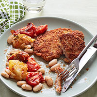 Breaded Pork Cutlets with Roasted Tomatoes and White Beans