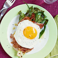 Grilled Greens Wrapped in Speck with Eggs