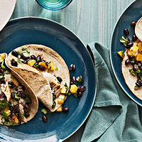 Tilapia Tacos with Roasted Pineapple-Black Bean Salsa