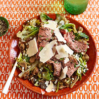 Warm Pearled Barley & Mushroom Salad with Sliced Flank Steak
