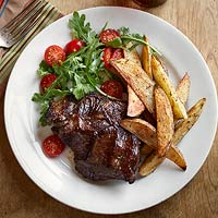 Drunken Steaks with Peppery Oven Fries