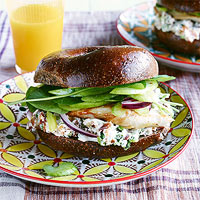 Chicken Bagel Sandwiches with Bacon-Walnut Cream Cheese