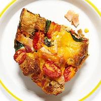 Cheesy Bacon & Tomato Strata