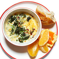 Cheesy Baked Spinach and Egg Whites with Bread and Fruit