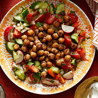Fried Chickpeas & Fresh Vegetable Salad