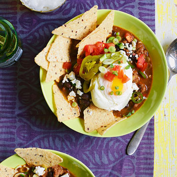 Chorizo and Black Bean Soup with Eggs