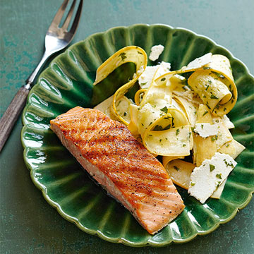 Grilled Salmon with Squash Ribbon Salad