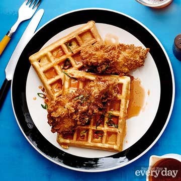 Beer-Battered Fried Chicken & Cornmeal-Scallion Waffles