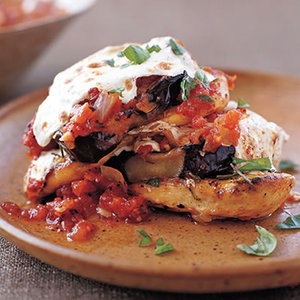 Corn and Salsa Grilled Chicken and Eggplant Stacks with Fire-Roasted Tomato Sauce Tortilla Soup