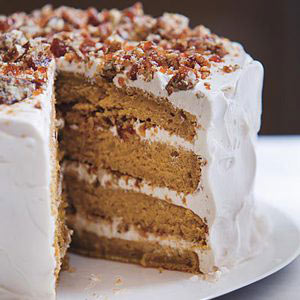 Pumpkin Cake with Whipped Cream and Pecan Praline