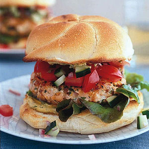 Salmon Burgers with Dill Mustard