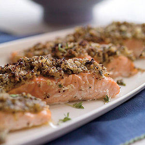 Roasted Salmon with Lemon-Herb Matzo Crust