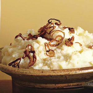 Potato-Turnip Mash with Crispy Fried Shallots