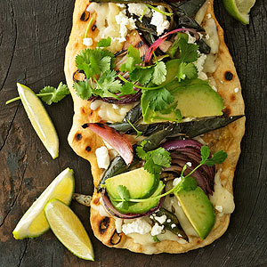 Poblano & Pepper Jack Pizzas with Avocado