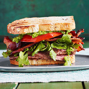 Sliced Steak BLTs with Jalapeno Chimichurri